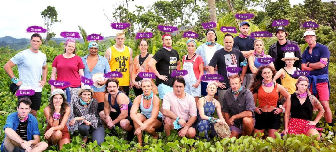 Australian Survivor: Champions vs. Contenders 2019 cast prior to commencing the game, being voted out and having food smeared over their faces.