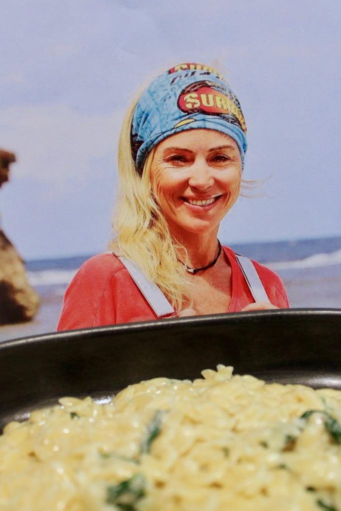 Susie Maroney smashing her third boot Cheesie Marisoni with Spinach and Garlic