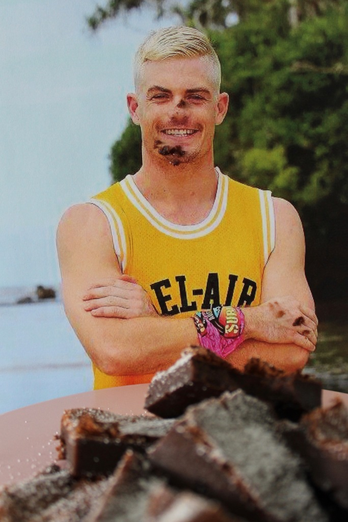 Mat Farrelly hoping that a tray of Mattella Farrownies will dull the pain of becoming the eleventh boot of Australian Survivor.